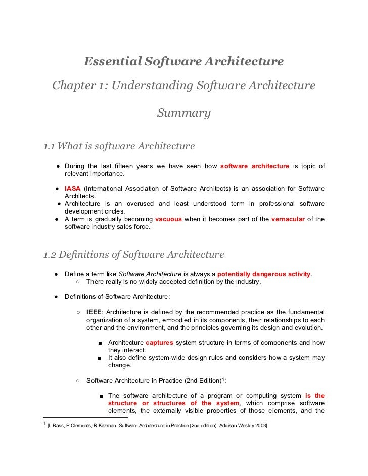 Essential Software Architecture - Chapter 1 Understanding Software Architecture - Summary