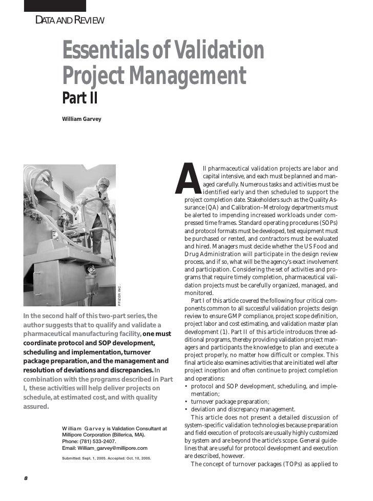 Essentials of Validation Project Management - Part 2 (Reprint)