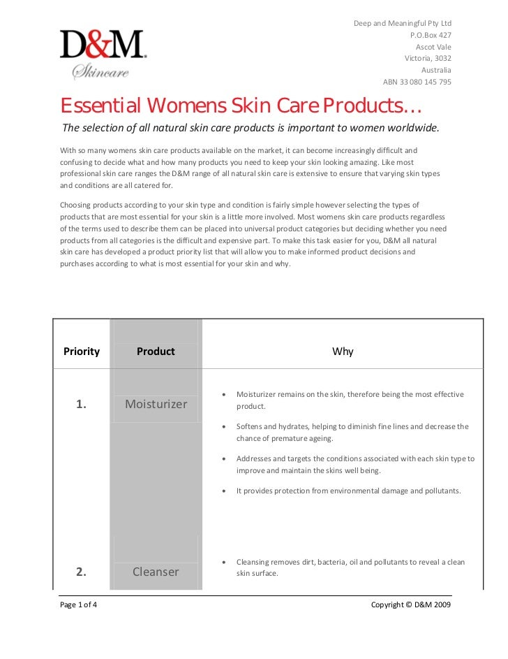 Essential womens skin care products