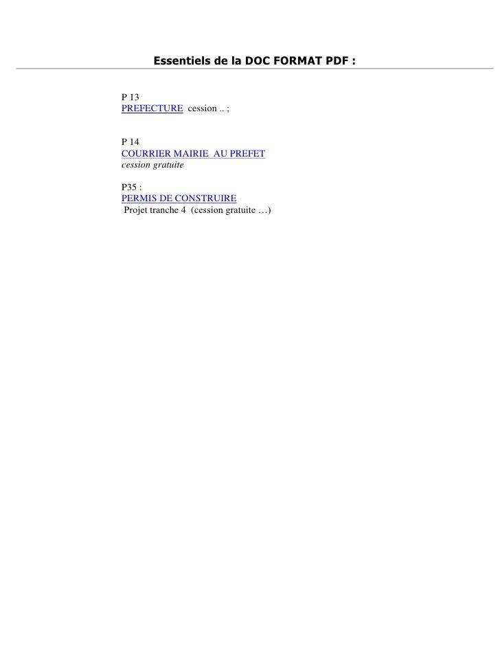 Essentiels de la DOC FORMAT PDF :   P 13 PREFECTURE cession .. ;   P 14 COURRIER MAIRIE AU PREFET cession gratuite  P35 : ...