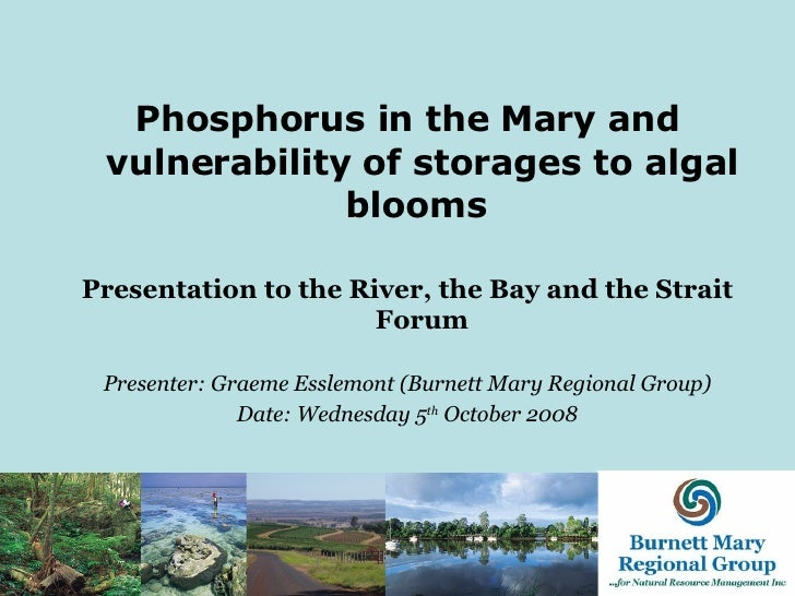 <ul><li>Phosphorus in the Mary and vulnerability of storages to algal blooms   </li></ul><ul><li>Presentation to t he Rive...