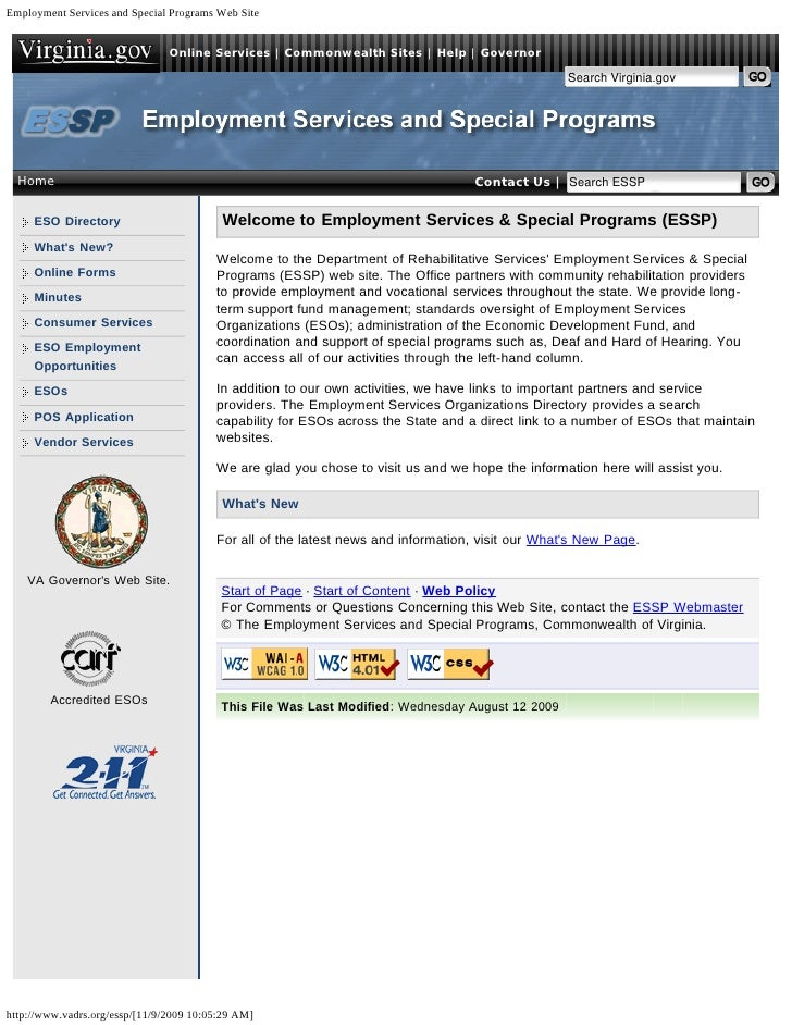 Employment Services and Special Programs Web Site                                Online Services | Commonwealth Sites | He...