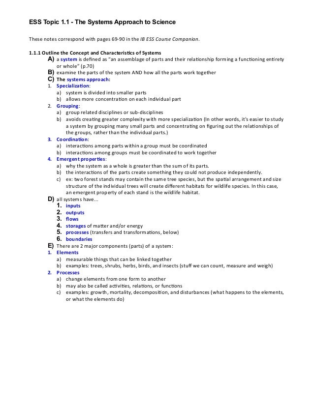 These  notes  correspond  with  pages  69-‐90  in  the  IB  ESS  Course  Companion. 1.1.1  Outlin...