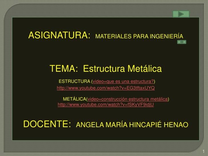 ASIGNATURA:           MATERIALES PARA INGENIERÍA    TEMA: Estructura Metálica      ESTRUCTURA (video=que es una estructura...