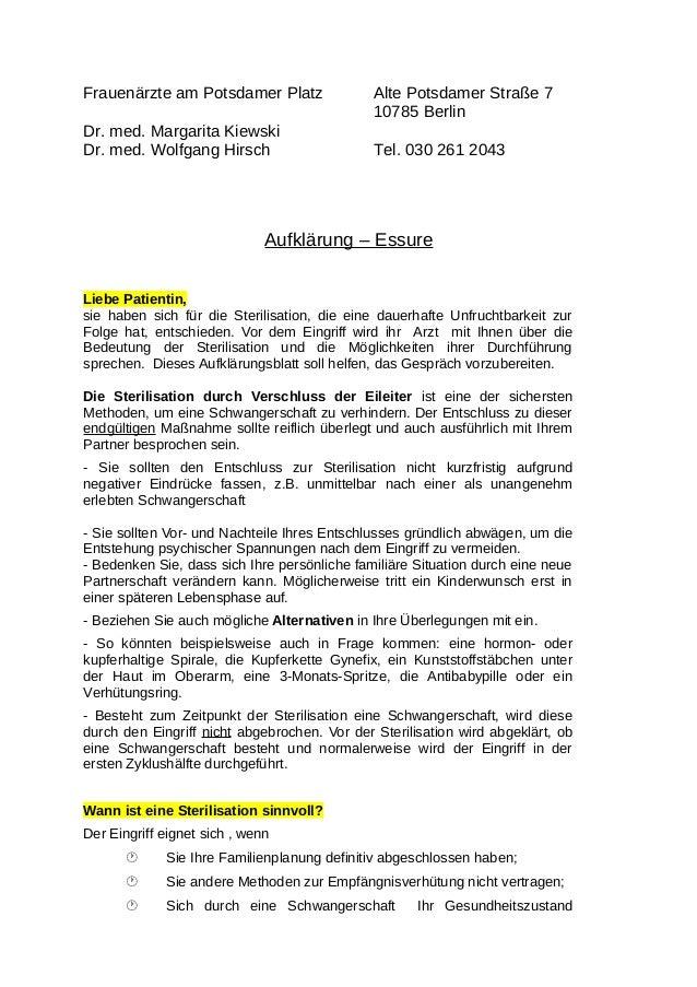 Frauenärzte am Potsdamer Platz Alte Potsdamer Straße 7  10785 Berlin  Dr. med. Margarita Kiewski  Dr. med. Wolfgang Hirsch...
