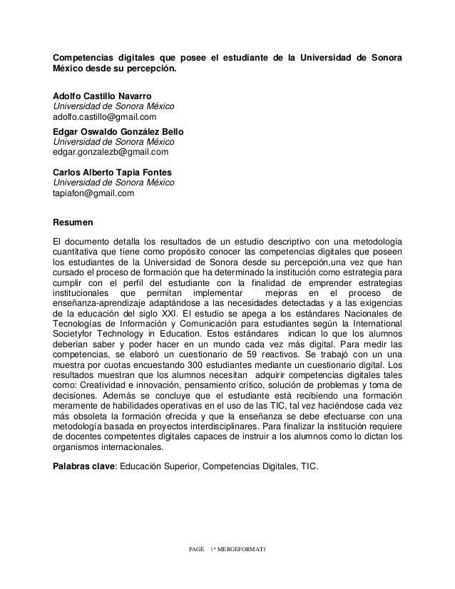 Competencias digitales que posee el estudiante de la Universidad de Sonora México desde su percepción. Adolfo Castillo Nav...