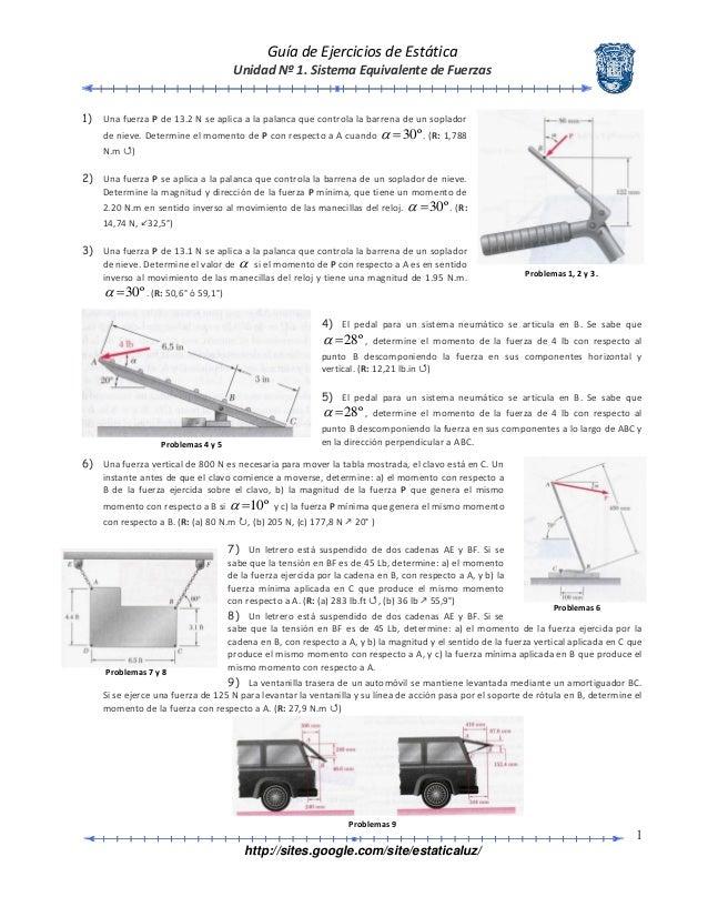 Guía de Ejercicios de Estática Unidad Nº 1. Sistema Equivalente de Fuerzas http://sites.google.com/site/estaticaluz/ 1 1) ...