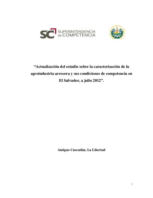 Actualización de estudio de la agroindustria arrocera