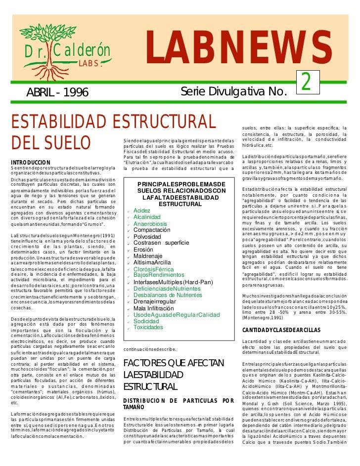 D r. Calderón                                            LABS .                               LABNEWS         ABRIL - 1996...