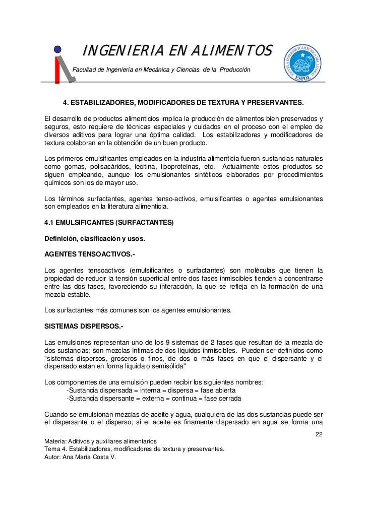 INGENIERIA EN ALIMENTOS          Facultad de Ingeniería en Mecánica y Ciencias de la Producción           4. ESTABILIZADOR...