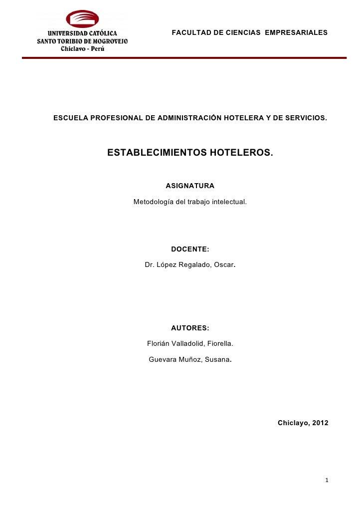 FACULTAD DE CIENCIAS EMPRESARIALESESCUELA PROFESIONAL DE ADMINISTRACIÓN HOTELERA Y DE SERVICIOS.            ESTABLECIMIENT...