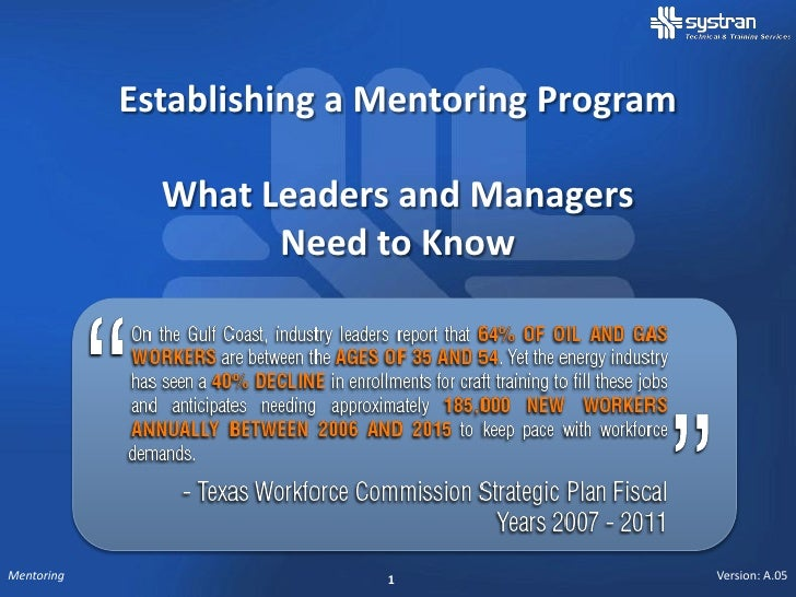 Establishing a Mentoring Program              What Leaders and Managers                    Need to KnowMentoring          ...