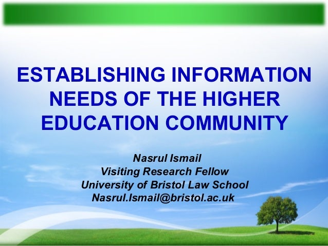 Establishing Information Needs of the Higher Education Community (Presentation at JISC)