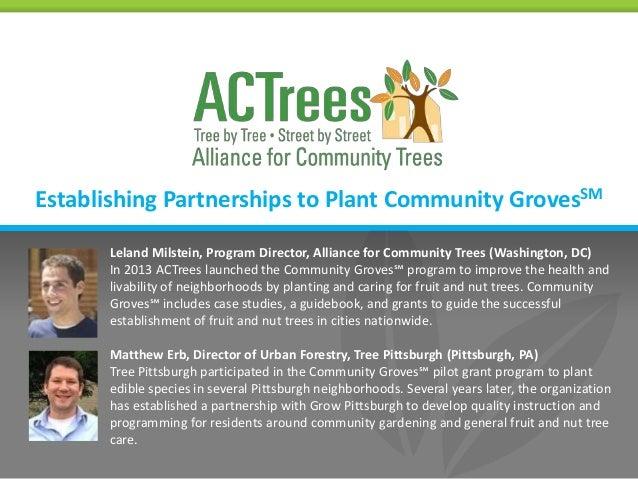 Establishing Partnerships To Plant Community Groves