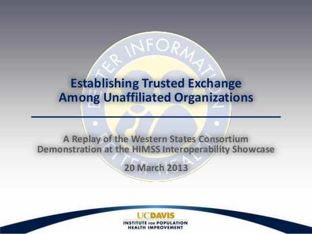 Establishing Trusted Exchange    Among Unaffiliated Organizations    A Replay of the Western States ConsortiumDemonstratio...