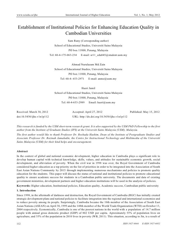www.sciedu.ca/ijhe                         International Journal of Higher Education                   Vol. 1, No. 1; May ...
