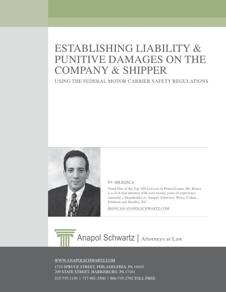 Establishing Liability & Punitive Damages on the Company & Shipping