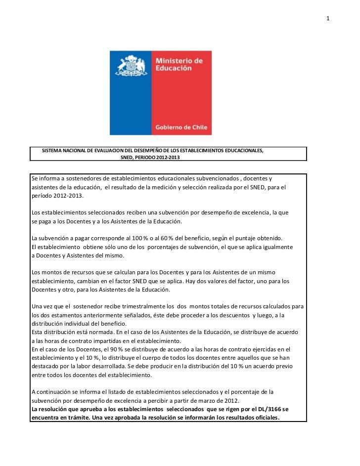 1    SISTEMA NACIONAL DE EVALUACION DEL DESEMPEÑO DE LOS ESTABLECIMIENTOS EDUCACIONALES,                                 S...