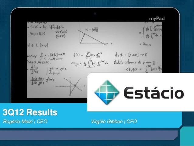3Q12 ResultsRogério Melzi | CEO   Virgílio Gibbon | CFO