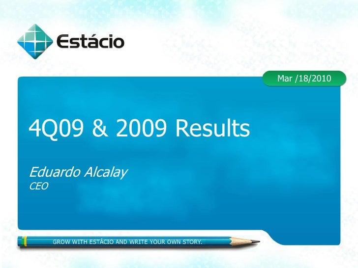 Mar /18/2010     4Q09 & 2009 Results Eduardo Alcalay CEO