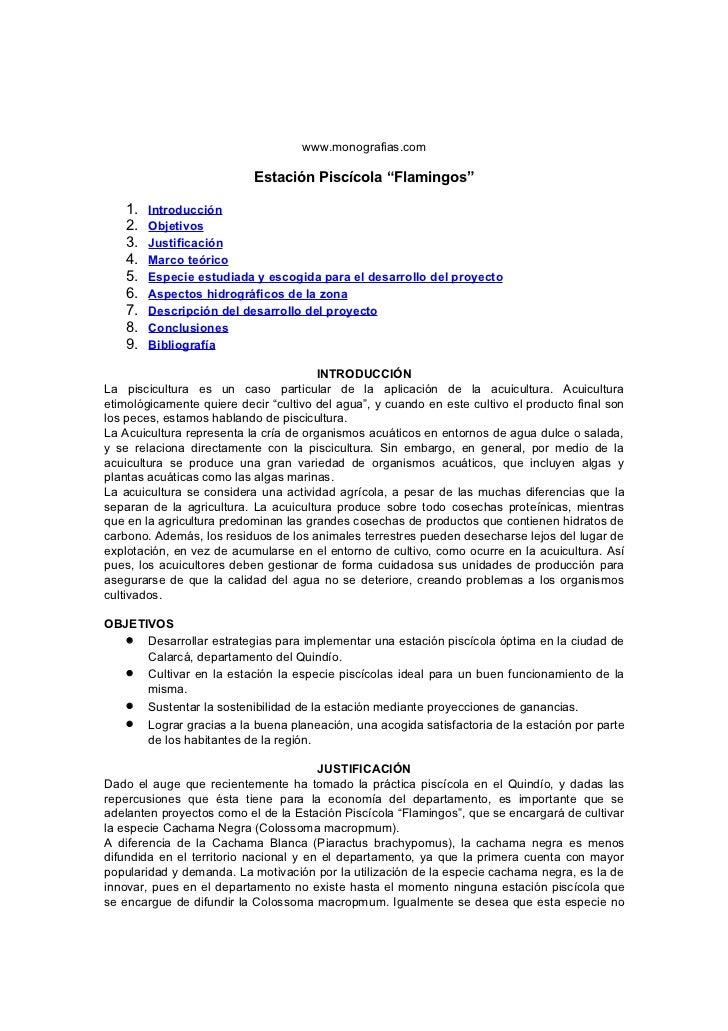 """www.monografias.com                           Estación Piscícola """"Flamingos""""    1.   Introducción    2.   Objetivos    3. ..."""