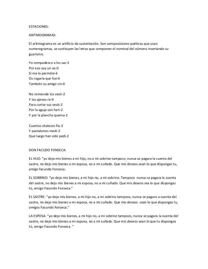 ESTACIONES:ARITMOGRAMAS:El aritmograma es un artificio de sustentación. Son composiciones poéticas que usannumerogramas, s...