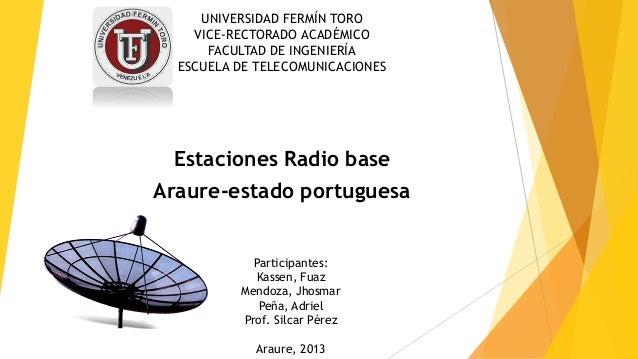 UNIVERSIDAD FERMÍN TORO VICE-RECTORADO ACADÉMICO FACULTAD DE INGENIERÍA ESCUELA DE TELECOMUNICACIONES Estaciones Radio bas...