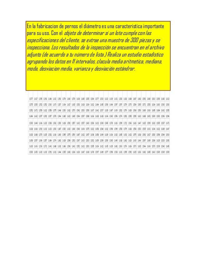 En la fabricacion de pernos el diámetro es una caracteristica importante1.577   1.627   1.595   1.591   1.604   1.632   1....
