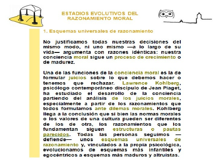ESTADIOS EVOLUTIVOS DEL RAZONAMIENTO MORAL