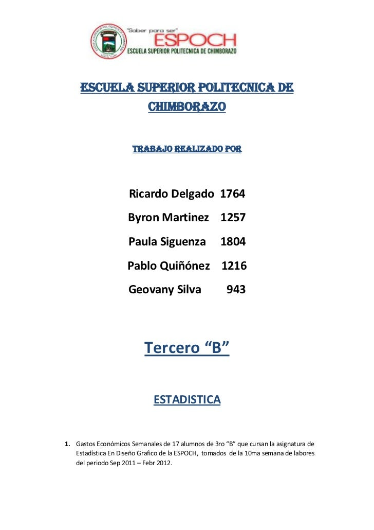 ESCUELA SUPERIOR POLITECNICA DE                           CHIMBORAZO                      TRABAJO REALIZADO POR           ...