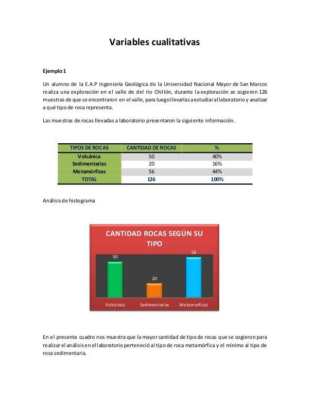 Variables cualitativas Ejemplo1 Un alumno de la E.A.P Ingeniería Geológica de la Universidad Nacional Mayor de San Marcos ...