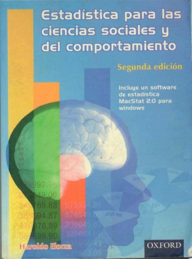 Estadística Ciencias Sociales y del Comportamiento Haroldo Elorza