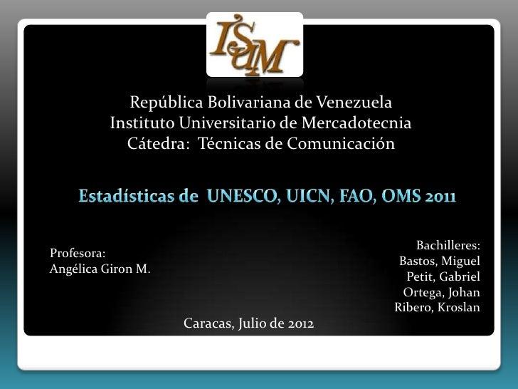República Bolivariana de Venezuela          Instituto Universitario de Mercadotecnia            Cátedra: Técnicas de Comun...