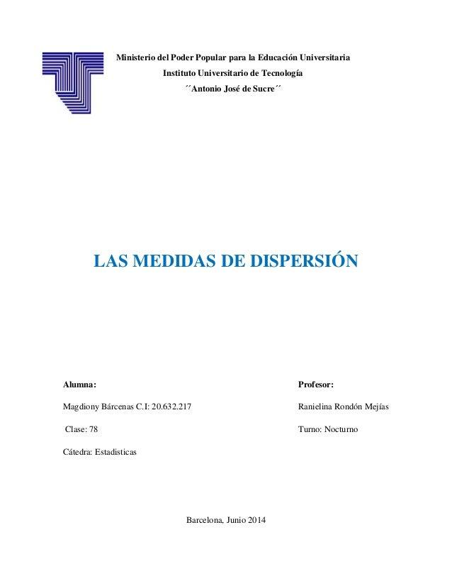 Ministerio del Poder Popular para la Educación Universitaria Instituto Universitario de Tecnología ´´Antonio José de Sucre...