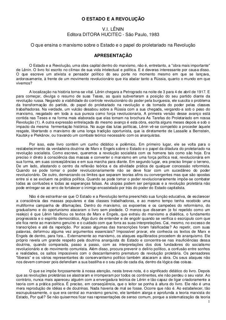 O ESTADO E A REVOLUÇÃO                                             V.I. LÊNIN                              Editora DITORA ...