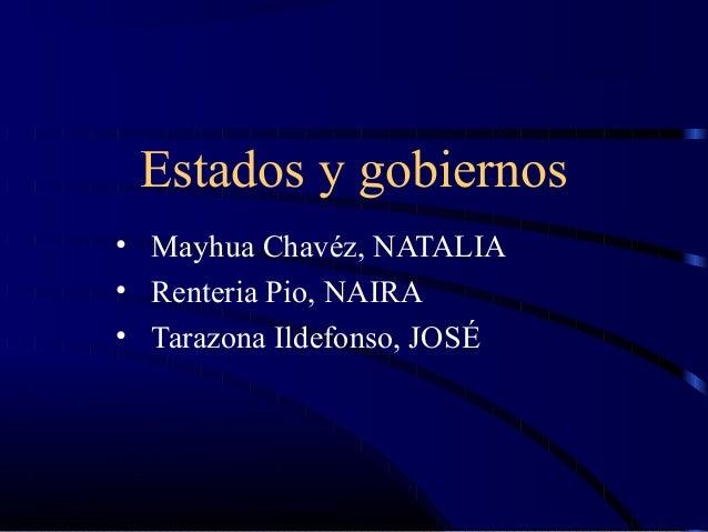 Estados y gobiernos  • Mayhua Chavéz, NATALIA  • Renteria Pio, NAIRA  • Tarazona Ildefonso, JOSÉ