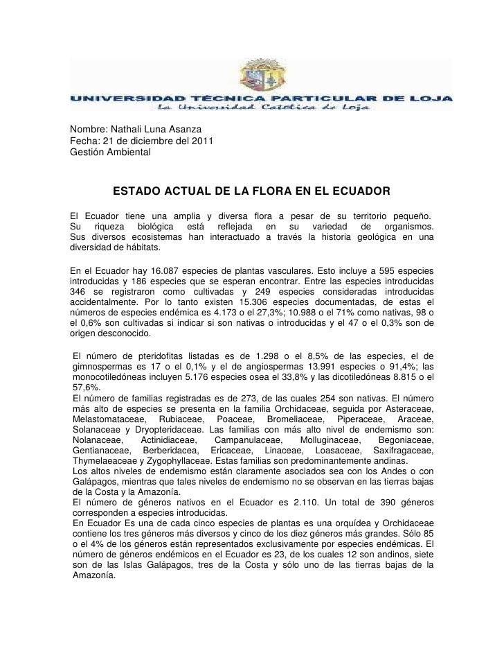 Nombre: Nathali Luna AsanzaFecha: 21 de diciembre del 2011Gestión Ambiental          ESTADO ACTUAL DE LA FLORA EN EL ECUAD...