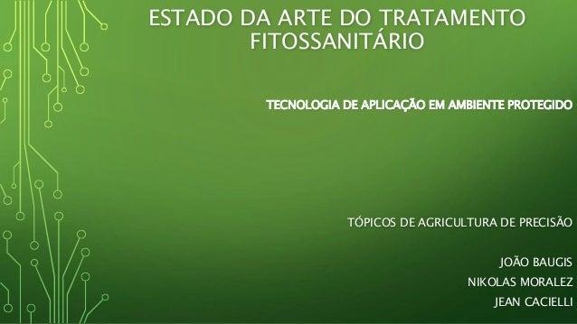 ESTADO DA ARTE DO TRATAMENTO FITOSSANITÁRIO TECNOLOGIA DE APLICAÇÃO EM AMBIENTE PROTEGIDO TÓPICOS DE AGRICULTURA DE PRECIS...