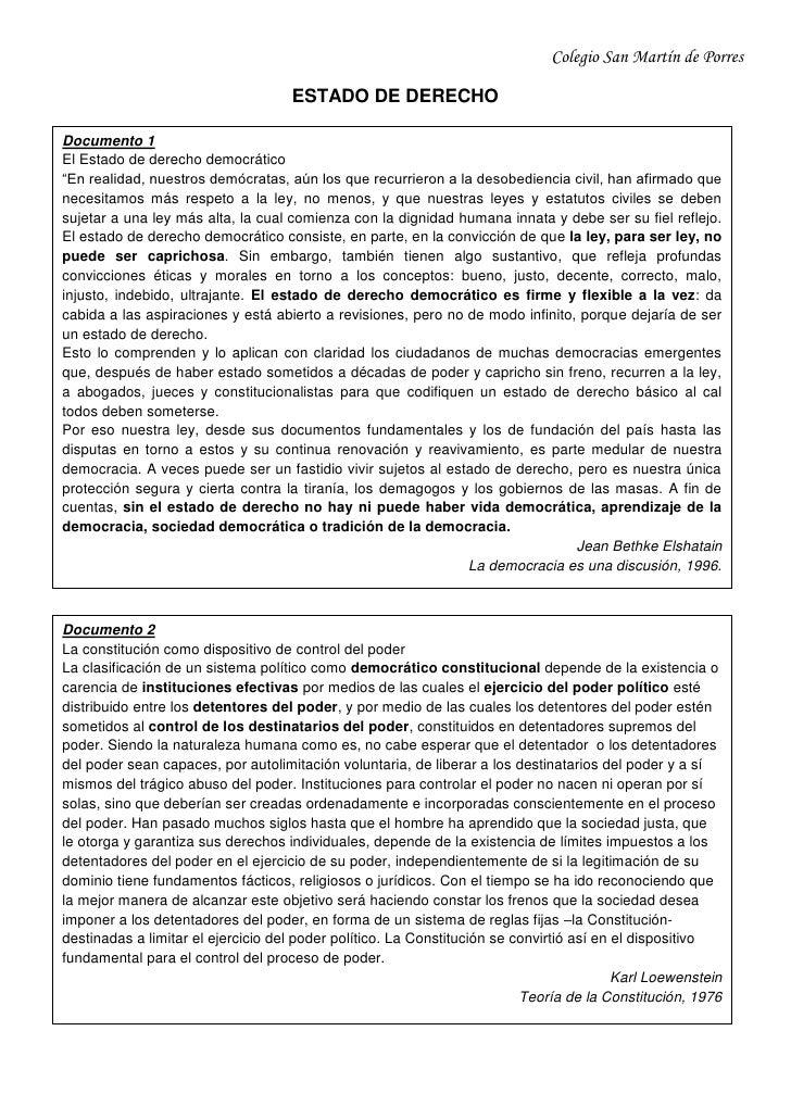 """Colegio San Martín de Porres<br />ESTADO DE DERECHO<br />Documento 1El Estado de derecho democrático""""En realidad, nuestros..."""