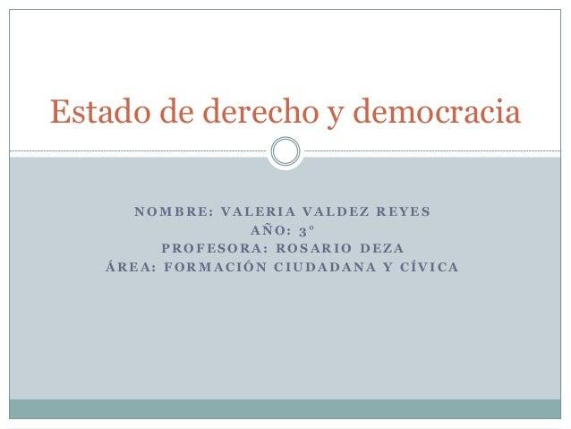 NOMBRE: VALERIA VALDEZ REYES  AÑO: 3°  PROFESORA: ROSARIO DEZA  ÁREA: FORMACIÓN CIUDADANA Y CÍVICA  Estado de derecho y de...