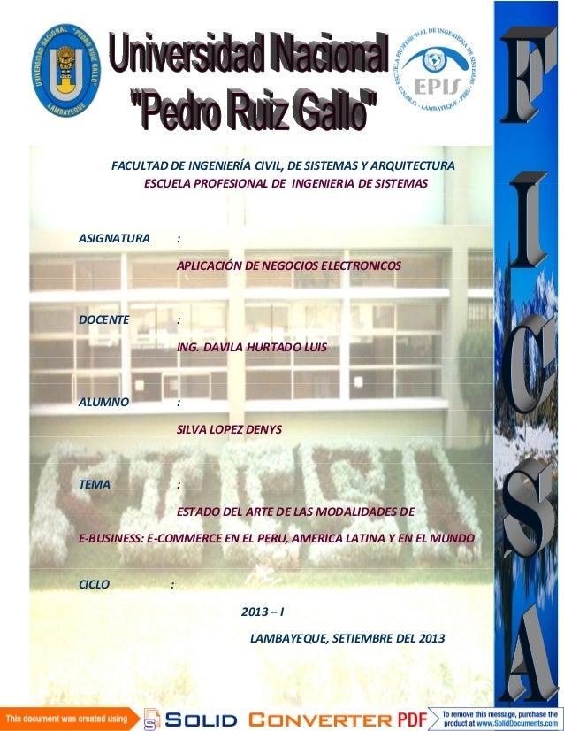 FACULTAD DE INGENIERÍA CIVIL, DE SISTEMAS Y ARQUITECTURA ESCUELA PROFESIONAL DE INGENIERIA DE SISTEMAS ASIGNATURA : APLICA...
