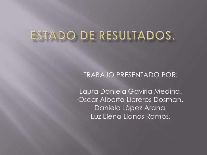 TRABAJO PRESENTADO POR:Laura Daniela Gaviria Medina.Oscar Alberto Libreros Dosman.    Daniela López Arana.   Luz Elena Lla...
