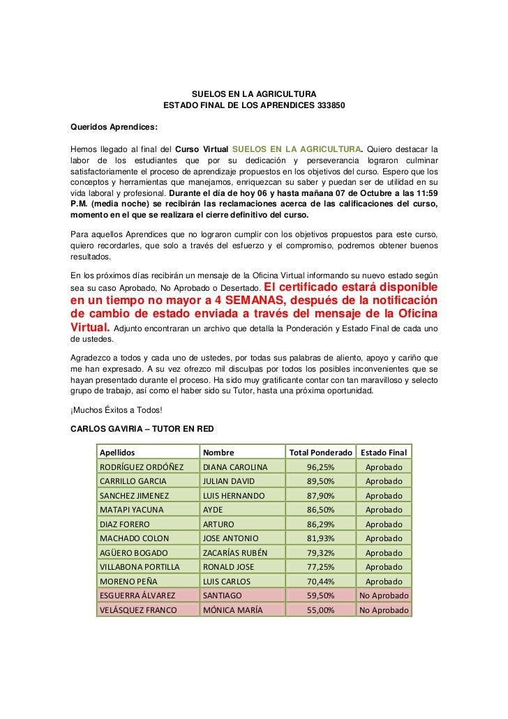 SUELOS EN LA AGRICULTURA                          ESTADO FINAL DE LOS APRENDICES 333850Queridos Aprendices:Hemos llegado a...