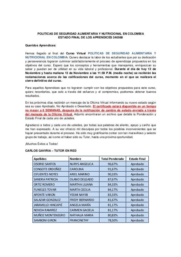 POLITICAS DE SEGURIDAD ALIMENTARIA Y NUTRICIONAL EN COLOMBIA                     ESTADO FINAL DE LOS APRENDICES 340568Quer...