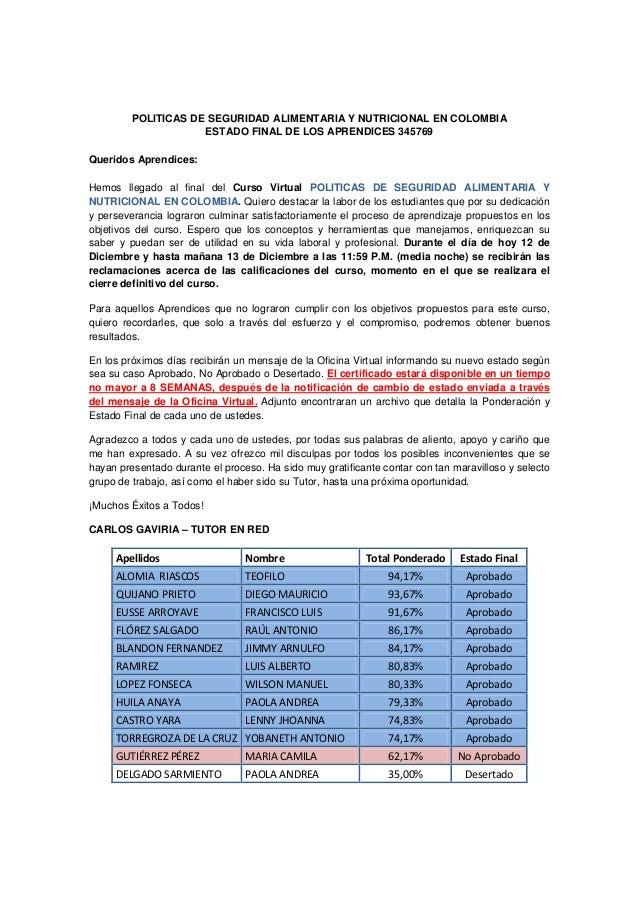 Estado Final Aprendices del Curso POLITICAS DE SEGURIDAD ALIMENTARIA Y NUTRICIONAL EN COLOMBIA 345769