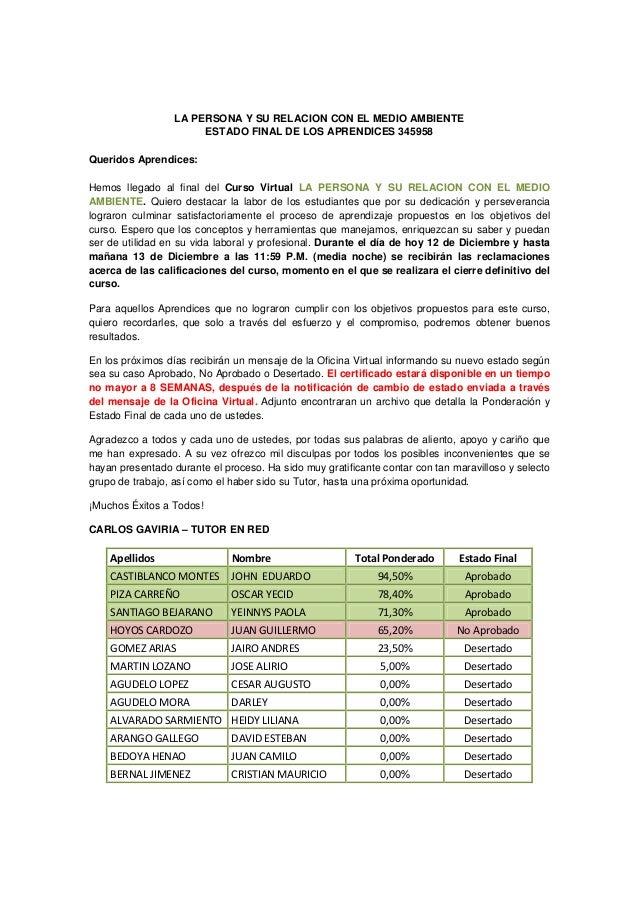 LA PERSONA Y SU RELACION CON EL MEDIO AMBIENTE                       ESTADO FINAL DE LOS APRENDICES 345958Queridos Aprendi...