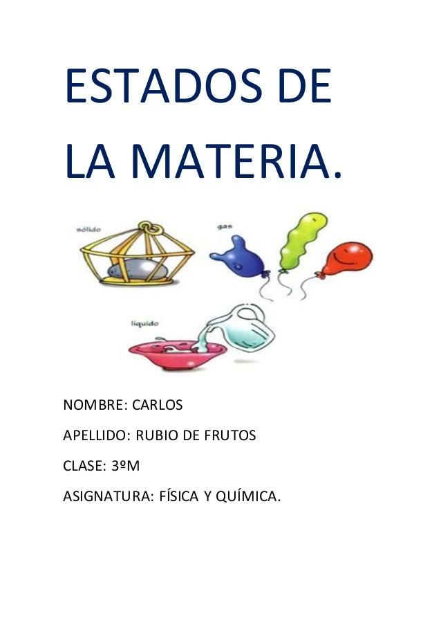 ESTADOS DE LA MATERIA. NOMBRE: CARLOS APELLIDO: RUBIO DE FRUTOS CLASE: 3ºM ASIGNATURA: FÍSICA Y QUÍMICA.