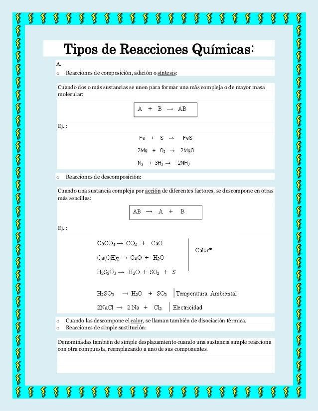Tipos de Reacciones Químicas:A.o    Reacciones de composición, adición o síntesis:Cuando dos o más sustancias se unen para...