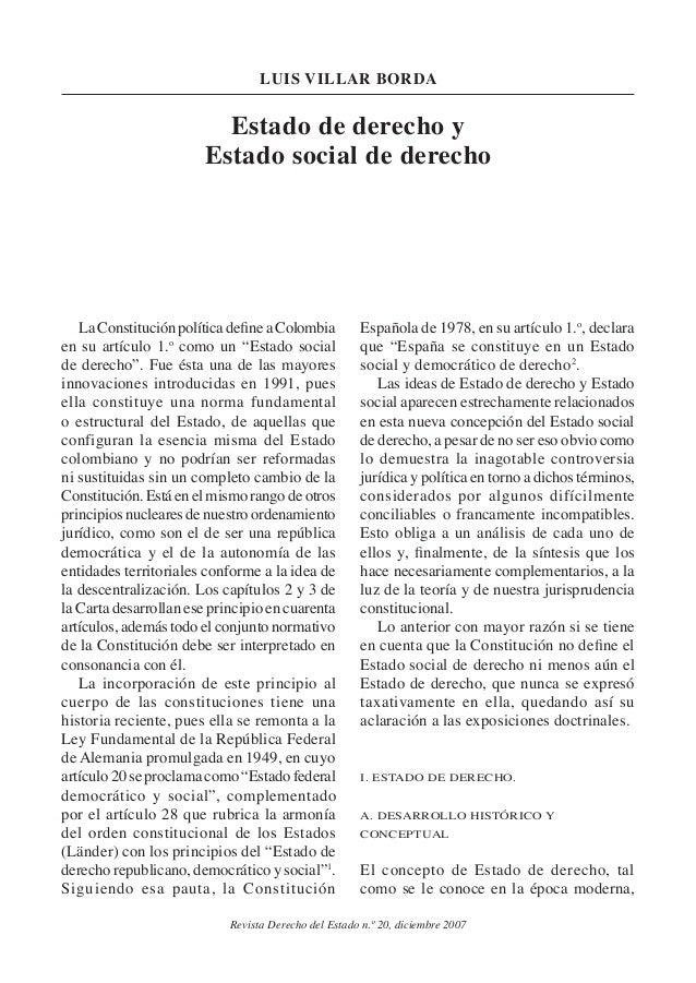 Revista Derecho del Estado n.º 20, diciembre 2007 luis villar borda Estado de derecho y Estado social de derecho LaConstit...
