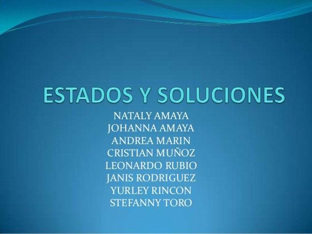 NATALY AMAYA JOHANNA AMAYA ANDREA MARIN CRISTIAN MUÑOZ LEONARDO RUBIO JANIS RODRIGUEZ YURLEY RINCON STEFANNY TORO